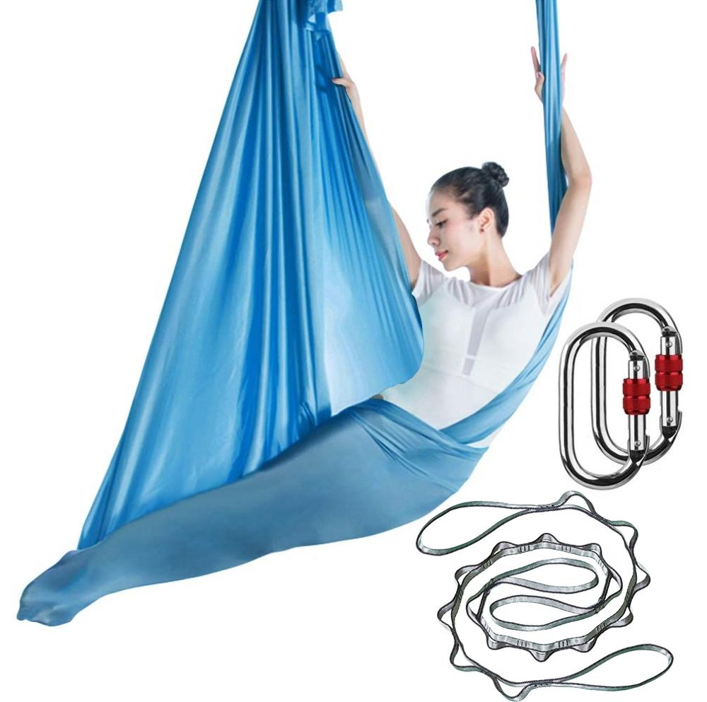 5M Aerial Yoga Antigravity Hammock Yoga Pilates Silk Kit Yoga Swing with Extension Straps Daisy Chain Locking Carabiner Clip