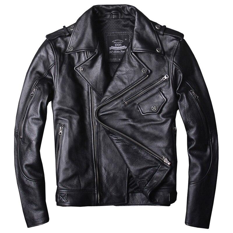 2019 noir hommes américain moto cuir veste grande taille XXXXL véritable peau de vache automne Slim Fit Biker en cuir manteau