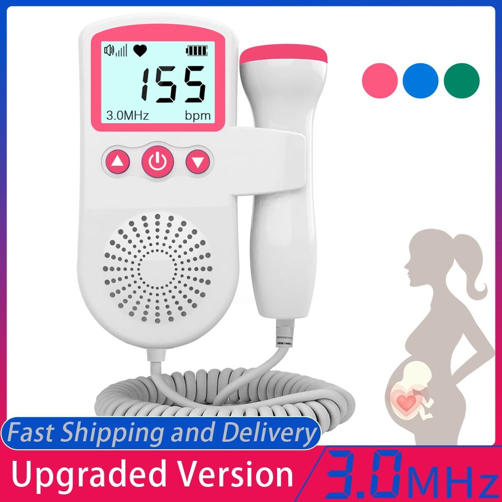 Atualizado 3.0 mhz doppler fetal monitor de freqüência cardíaca em casa gravidez bebê fetal som detector de freqüência cardíaca display lcd sem radiação 1