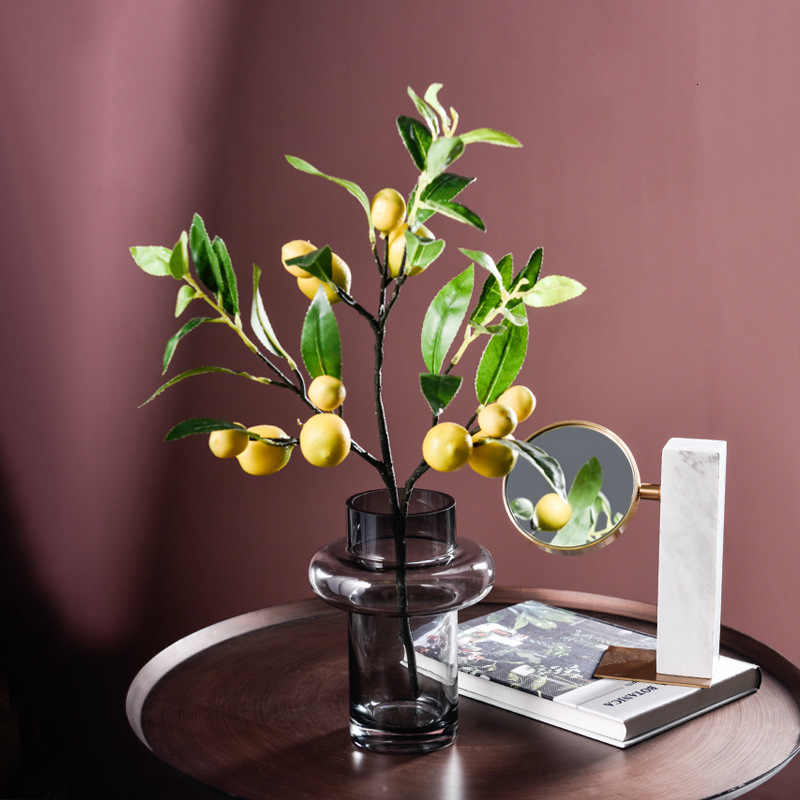 Single Simulated Fruit Fake Lemon Decor Fruit False Green Branch For Home Office Decoration Accessories Bouquet Greenery Craft Artificial Fruits Aliexpress