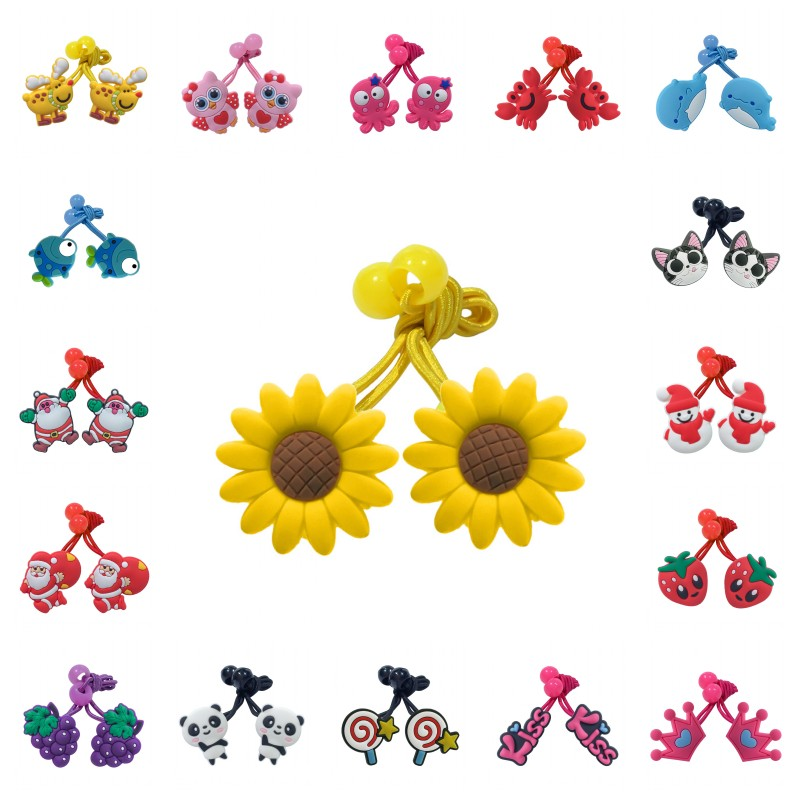 1pair/2pcs Animals Elastic Hair Bands Sunflower Rubber Hairband Sweet Hair Accessories For Girls Hair Ropes Ornaments Kids Gift