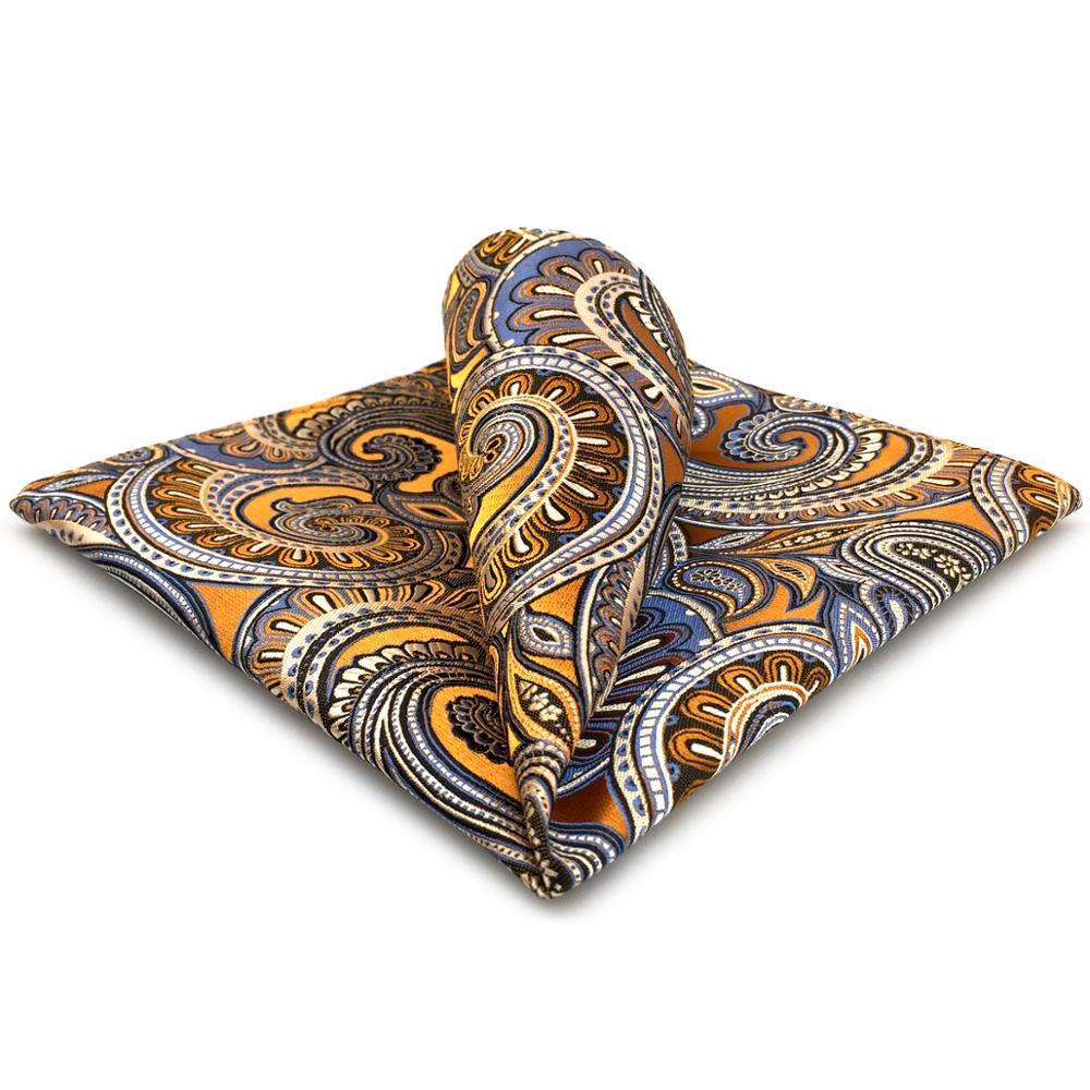 Paisley Floral Gold Orange Handkerchief Mens Pocket Square Suit Gift Large 12.6