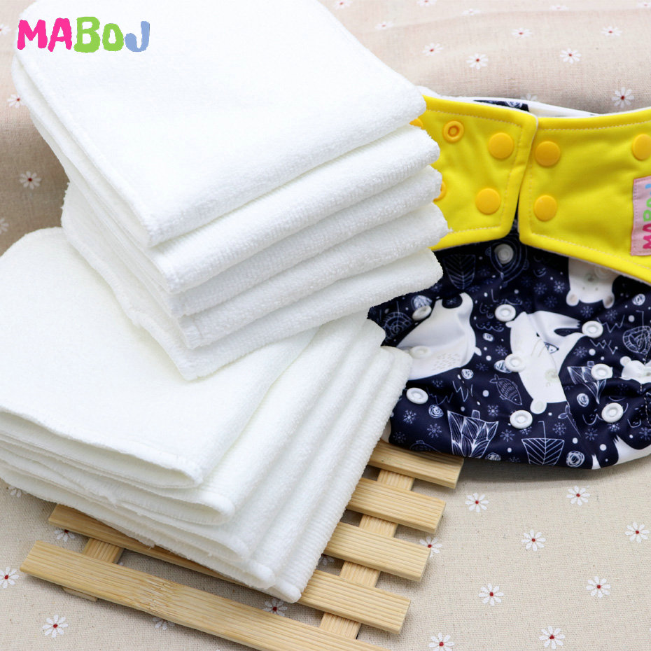 Diaper Insert Couche Lavable 10pcs Washable Reuseable Baby Cloth Diapers Pocket Nappy Inserts Microfiber 3 Layers Insertos