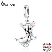 Bamoer słodkie zwierzątko Chihuahua wisiorek z psem urok srebrny 925 oryginalny różowy emalia ucha biżuteria prezenty akcesoria dla dziewczynek SCC1317