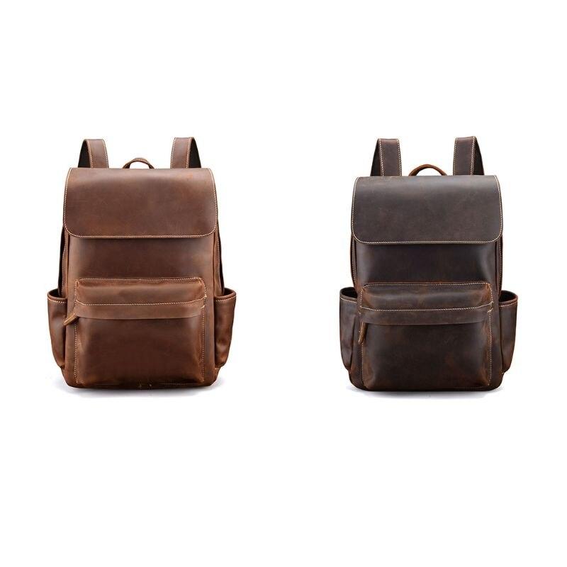 Винтажный большой емкости мужской кожаный рюкзак дорожный рюкзак подростковый студенческий рюкзак для ноутбука