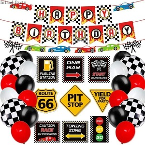 Racing Car Birthday Party Balloons Race Car Theme Banners Cake Toppers Party Supplies Decoration Baby Happy Birthday Party Pack
