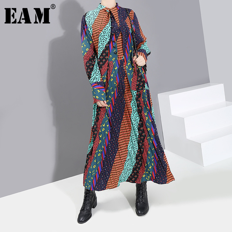 [EAM] Women Dot Printted Temperament Long Dress New Stand Collar Long Sleeve Loose Fit Fashion Tide Spring Autumn 2020 19A-a853