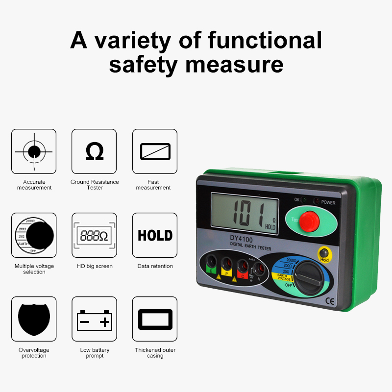 Tools : DUOYI DY4100 Megger Meter Resistance Tester Digital Megohmmeter  Earth Resistance Tester Ground 0-2000 Ohm Insulation Tester
