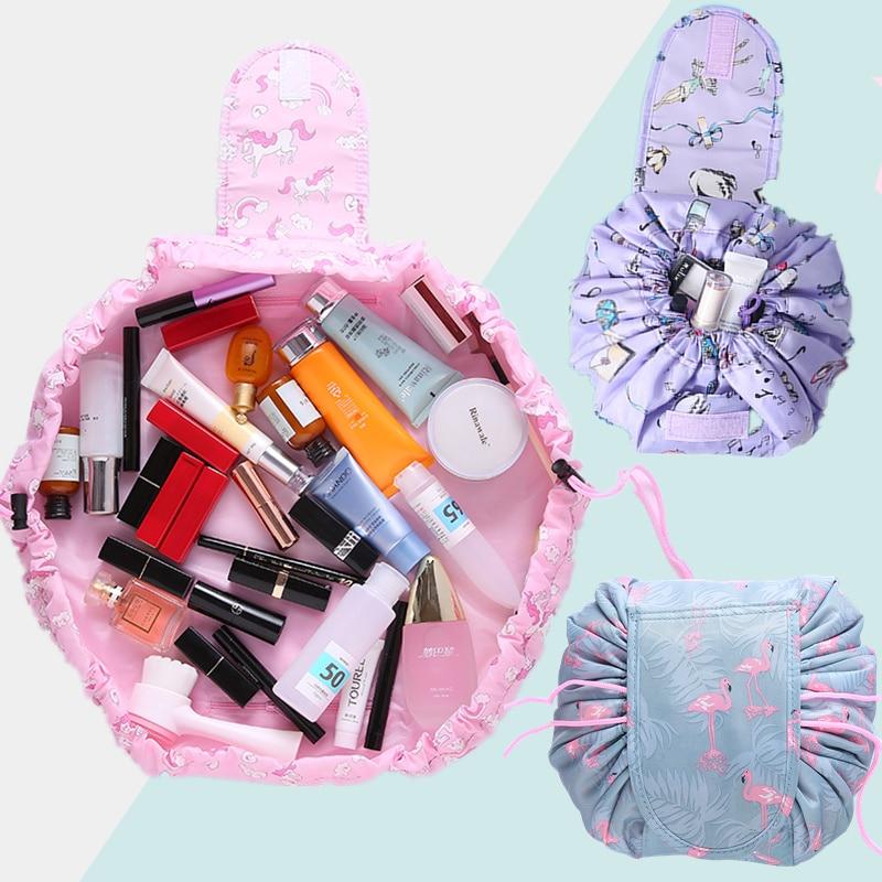 PUOU Women Drawstring Travel Cosmetic Bag Makeup Bag Organizer Make Cosmetic Bag Case Storage Pouch Toiletry Beauty Kit Box