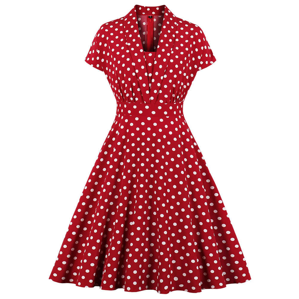 Joineles Red Polka Dot Women Retro Dress Elegant V Neck Short Sleeves Vintage Dress Office Work Dress 50s 60s Vestidos Robe 2019