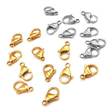 20pcs Gold Lobster Clasps Hooks Stainless Steel Connectors Diy Necklace Bracelet chain For Jewelry Making Supplies Findings