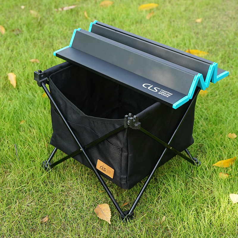 Outdoor Picnic Foldable Table Camping Desk with Waterproof Tableware Clothes Storage Bag