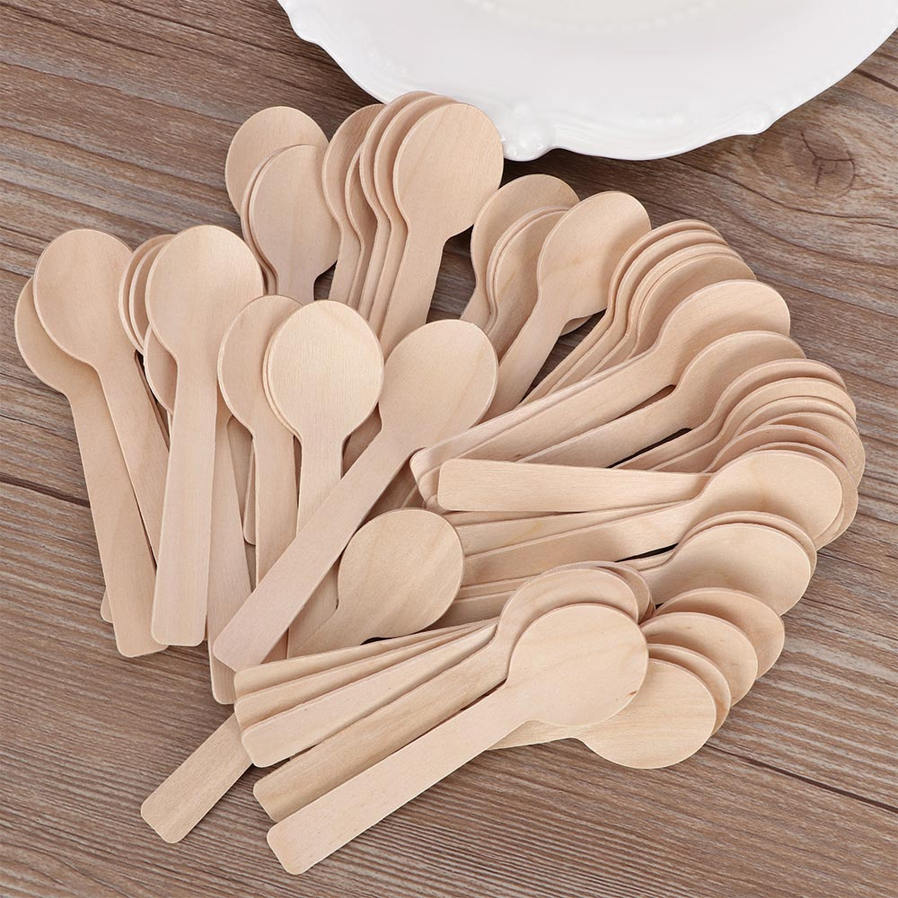 Ice Cream Knives Cake Forks Cutlery Eco-Friendly Biodegradable Utensils Perfect for Party ANBET 100 Pack Disposable Wooden Spoons