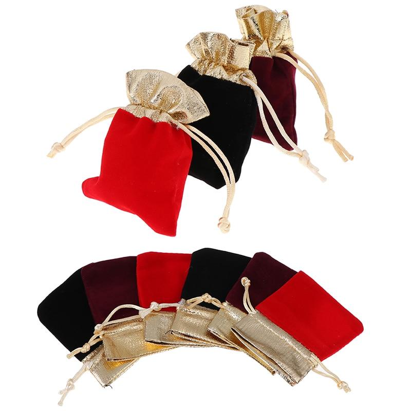 10pcs/lot Drawstring Packing 7x9cm 10x12cm 12x15cm Drawstring Bags Wedding Gift Bags Jewelry Packaging Display Velvet Pouches