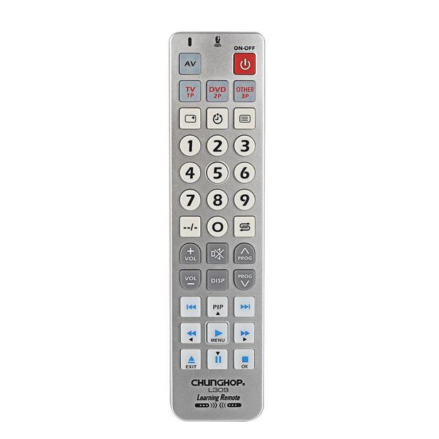 Универсальный обучающий пульт дистанционного управления ler Chunghop L309 для TV/SAT/DVD/CBL/DVB T/AUX большие кнопки копия