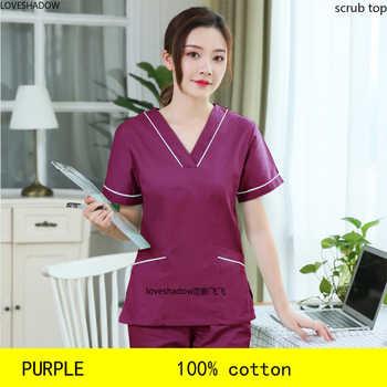 Plug Size S-4XL Women Scrubs Top Fashion Color Blocking Spa Uniforms Dentist Short Sleeve Workclothes Cotton Big Pockets Scrubs