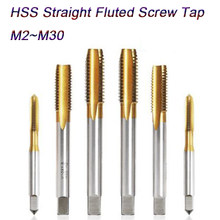 Metric Machine Screw Tap HSS Ti-coated Hand Spiral Point 4 Straight Flutes Plug Thread Tapping Bearing Steel M2 M24 High Speed