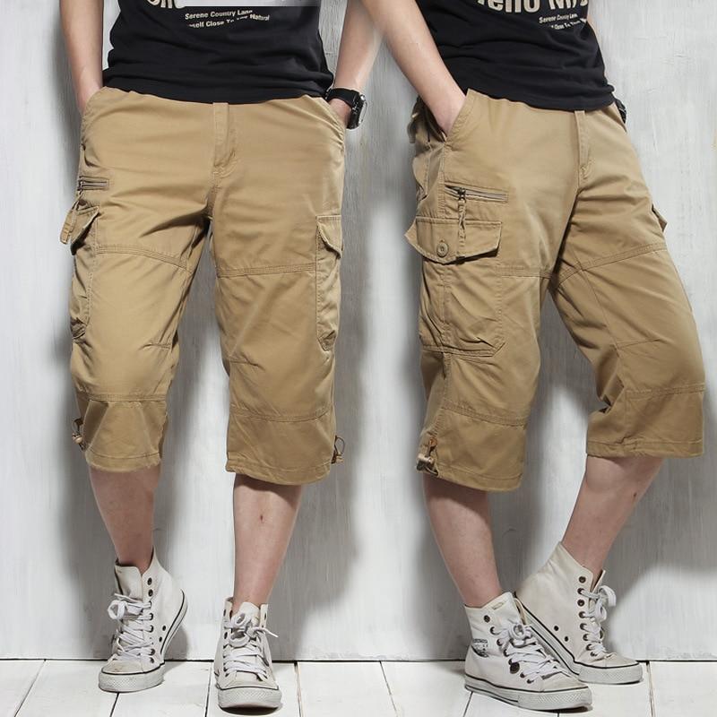 Summer Long Length Cargo Shorts Men Knee Pocket Casual Cotton Elastic Waist Bermudas Male Military Style Capri Breeche Army