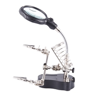 Multi-Functional Welding Magnifier With 3.5X 12X Glasses Magnifying Illuminated Soldering Iron Stand Lens Third Hand Repair Tool