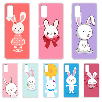 Cartoons cute lovely White Rabbit Phone Case cover hull For SamSung Galaxy S 6 7 8 9 10 20 Edge Plus E Lite 5G Ultra transparent image