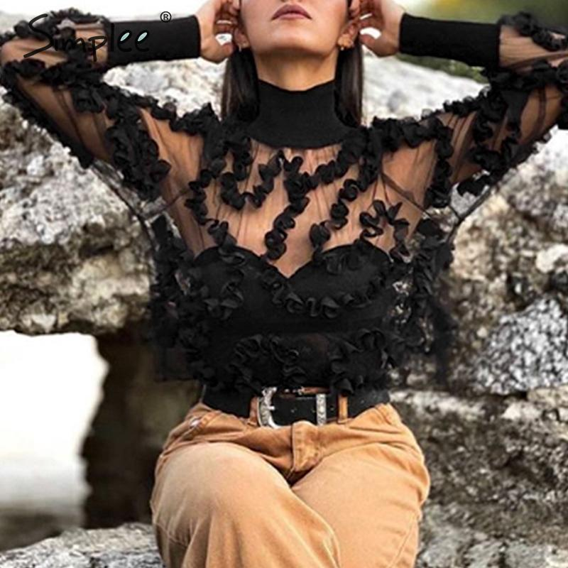 Simplee Sexy Turtleneck Transparent Mesh Blouse Women Floral Lace Long Sleeve Female Black Tops Fashion Party Club Ladies Shirts