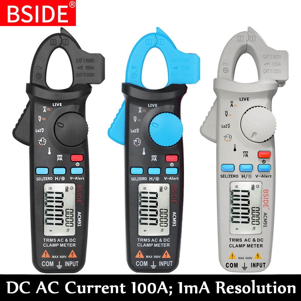 True RMS Mini BSIDE ACM91 DC Corrente AC Digital Clamp Meter 100A 1mA Precisão Reparo Do Carro Voltímetro Amperímetro NCV Tester multímetro