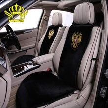 ROWNFUR-housses de siège de voiture brodées, universelles, couvre-siège en peluche artificielle, pour toutes les voitures