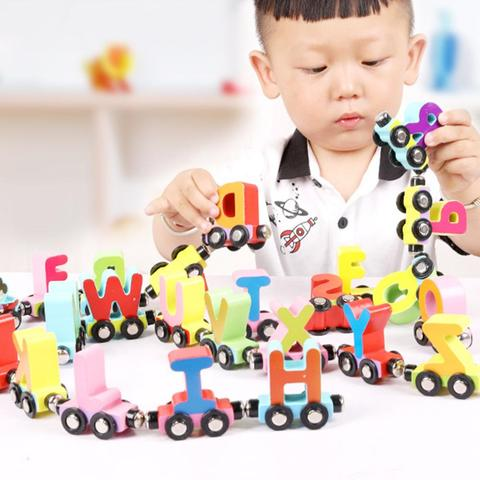 27 pcs set numero alfabeto animal mini carros de trem magnetico educacao matematica criancas brinquedo