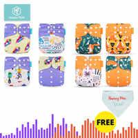 HappyFlute 8 pieluszek + 8 wkładek pieluchy dla niemowląt jeden rozmiar regulowana zmywalna ściereczka wielokrotnego użytku pieluszka dla małe dziewczynki i chłopcy