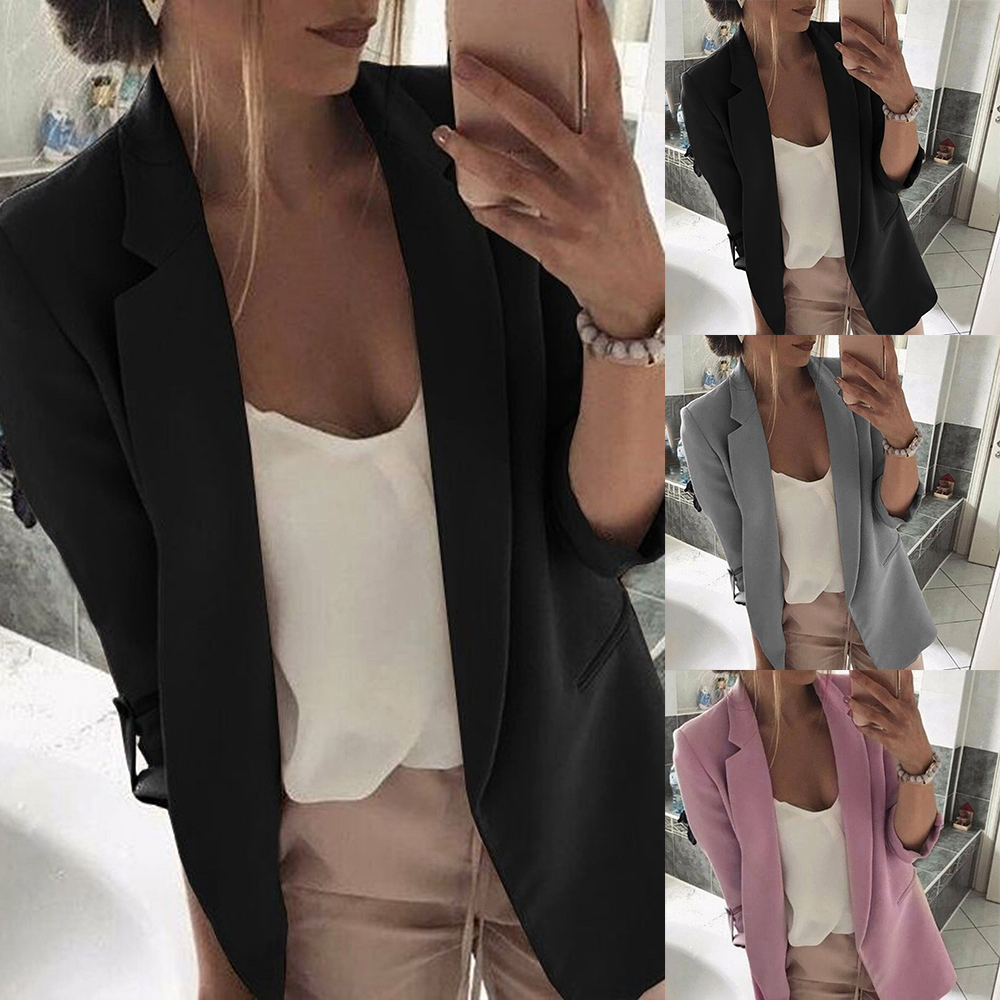 MoneRffi 2019 Fashion Solid Women Casual Suit Coat Business Blazer Long Sleeve Jacket Outwear Ladies Black Pink Slim Blazer Coat