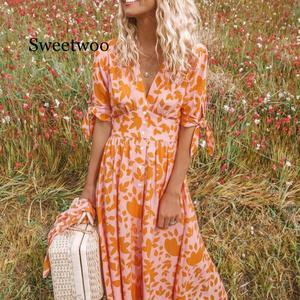 Новое модное женское богемное платье с цветочным принтом и длинными оборками, элегантное сексуальное платье макси, вечерние пляжные платья...
