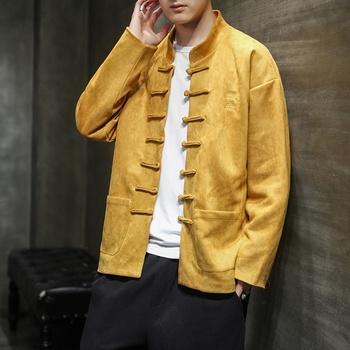 Stójka tradycyjna chińska odzież męska kurtka noworoczne ubrania Retro bluzka chińska koszula w stylu strój Tang KK3373 tanie i dobre opinie EASTQUEEN Poliester CN (pochodzenie) Topy Sztruks