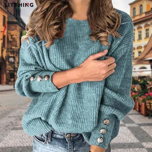 Litthing Knitted Women Sweaters Autumn Winter Long Sleeve Button Sweater Tops Ladies Casual Jumper Plus Size S-5XL Pullover