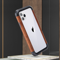 Luxury Original Anti fall Wooden Case for iPhone 11pro Max Metal Bumper Protection Frame for Iphone 11 Phone Cover shell bag