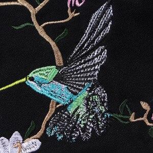 Image 4 - Hip Hop Hoodie Sweatshirt Bestickt Vogel Floral Herren Streetwear Harajuku Hoodies Pullover Lose Baumwolle Sweat Shirt 2019 Herbst