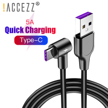 !ACCEZZ 90 Degree 5A Type C Cable USB Fast Charging Data Cables For Huawei P30 P20 Pro Xiaomi Mi 9 Samsung S10 S9 Note 1m 2m