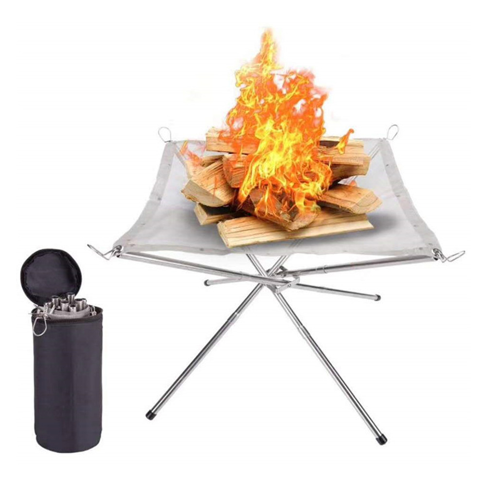 Wear-resistantGarden Firepits with Independent Storage Bag 4 Legs Collapsible Stainless Steel Mesh Camping Fire Pits