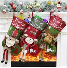 цены Christmas Decoration Socks Stockings Santa Gift Bag Hanging Festival Ornament Santa Claus snowman deer festival Decoration