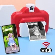 детский фотоаппарат с печатью Детская камера Мгновенной Печати, термопринтер, беспроводной Wi-Fi принтер для телефона, 1080P HD Детская цифровая ...