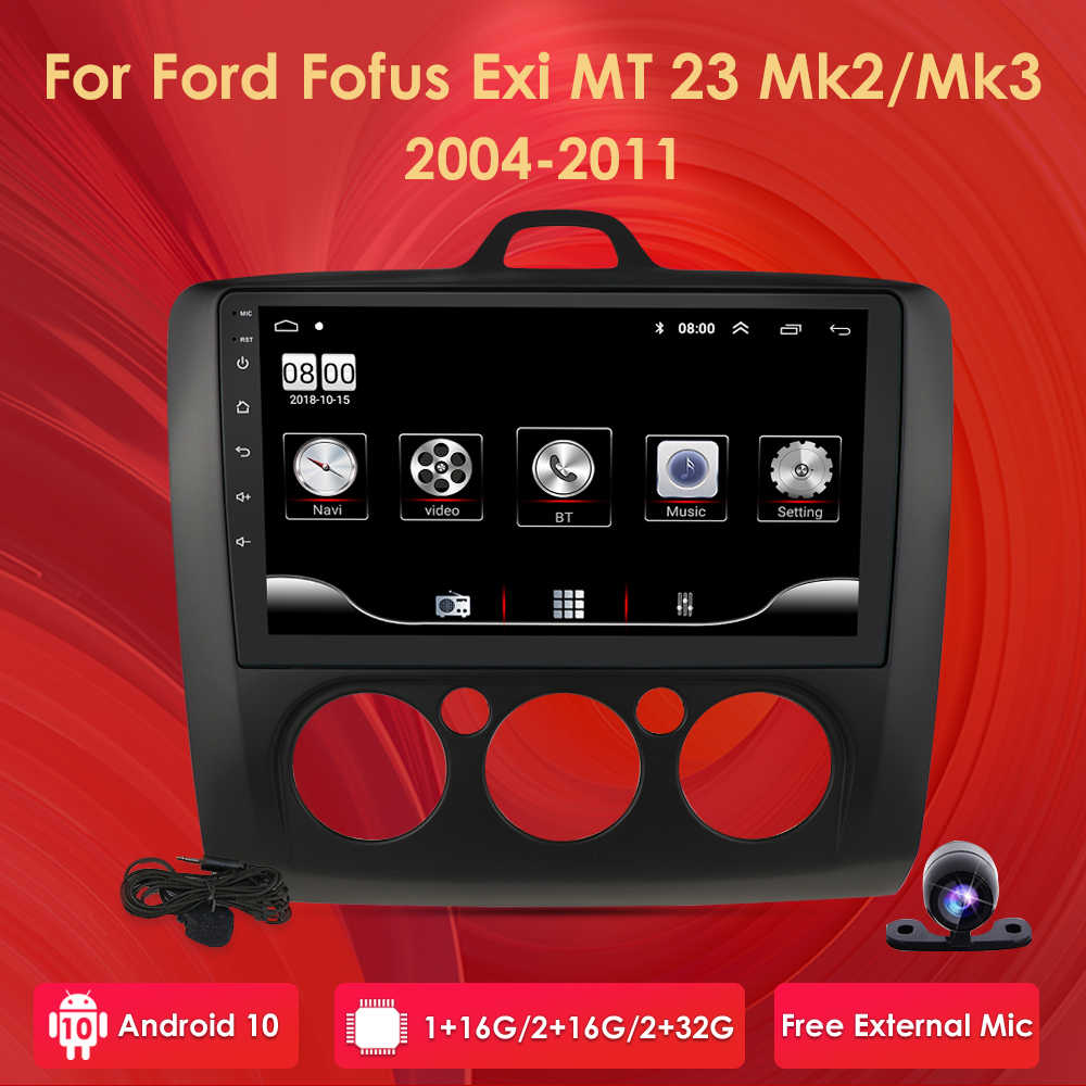 9 pollici Android 10 Auto Radio Per ford focus EXI MT 2 3 Mk2 2004 2005 2006 2007 2008 2009-2011 2Din GPS Multimedia Player OBD2 DVR