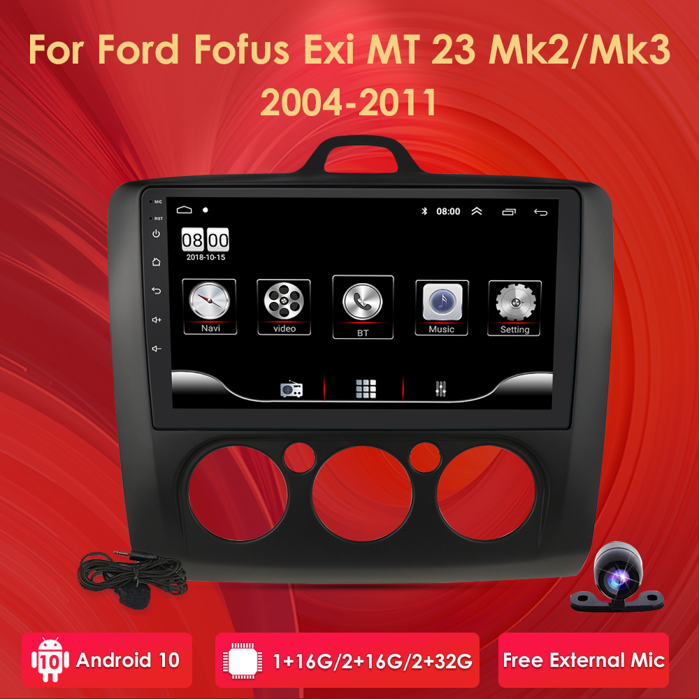 9 inch Android 10 Car Radio For <font><b>ford</b></font> <font><b>focus</b></font> EXI MT 2 3 <font><b>Mk2</b></font> 2004 2005 2006 2007 2008 2009-2011 2Din GPS <font><b>Multimedia</b></font> Player OBD2 DVR image