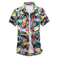 Legible Summer Fashion green red flower Mens Shirts Casual Slim Fit Floral Shirt Social Holiday Short Sleeves Shirt Men 5XL