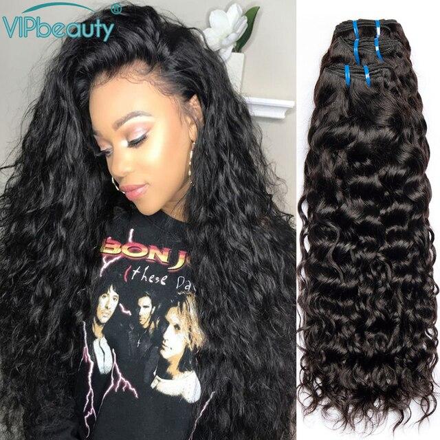 Mechones de cabello humano Remy con ondas al agua indio, postizo de Color Natural 1B, se puede teñir de 8 a 26 28 30 pulgadas 3 4 ofertas de extensiones
