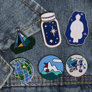 Brooches Space Travel Collection Enamel Pin Planet Earth Wishing Bottle Lapel Pin Unisex Denim Cartoon Badges Pins Jewelry Gift