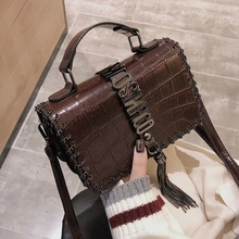 Handbag metal letter tassel ladies messenger bag mini square shoulder clutch women brand Stone pattern