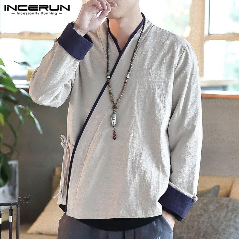 INCERUN Autumn Fashion Men Japanese Yukata Coat Kimono Casual Comfort Cotton Linen Retro Baggy Mens Jackets Cardigan Plus Size