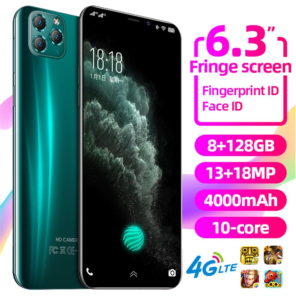 New Global Version Mobile Phone i12Pro 6.3 inch Water drops screen Snapdragon 855 smartphone 4000mAh NFC Android 9.1 Smartphone