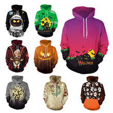 Scary Ghost Halloween Costume Women Hoodie Funny Skull Skinny Long Sleeve 3D Print Monster Cosplay Men Pumpkin Sweater Unisex