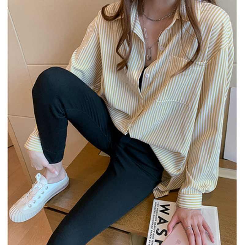 プラスサイズ秋 2019 女性のストライプブラウスカジュアルストリート韓国ルーズシャツ長袖シャツヴィンテージエレガントな女性トップス