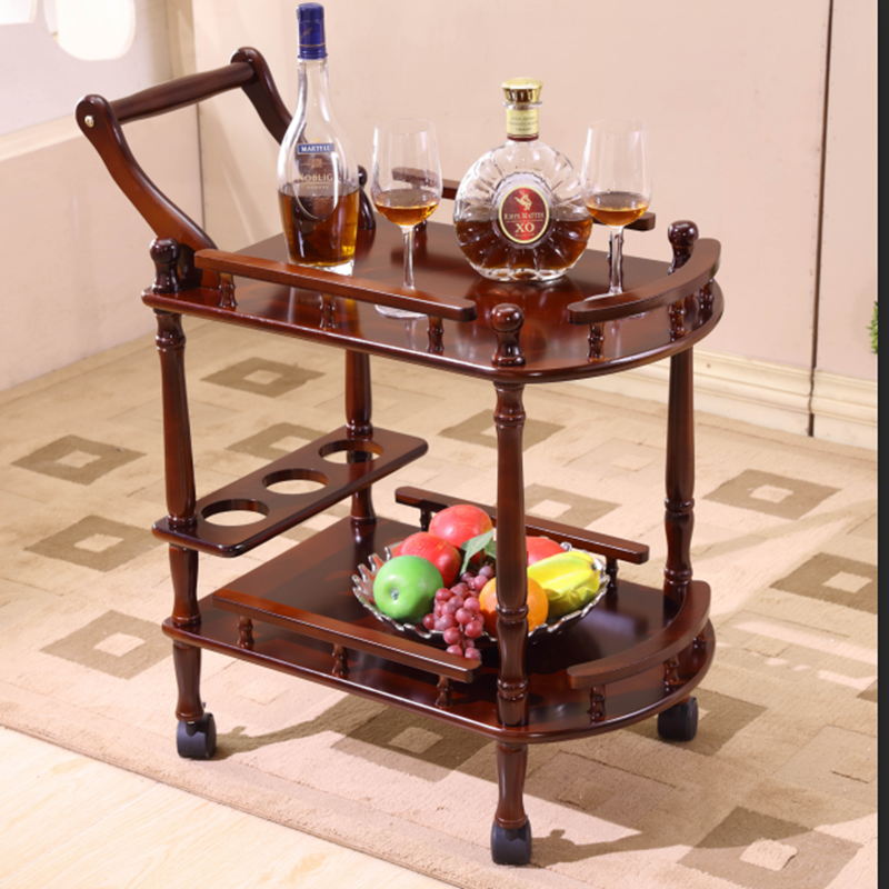 Hotel Restaurant Double-layer Solid Wood Dining Car 4S Shop Tea Wine Water Cart Beauty Salon Trolley Side Rack